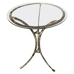 French Wrought Iron Glass Topped Garden Cafe Bistro Table