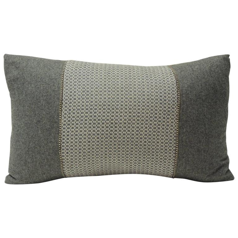 Decorative Black Lumbar Pillow : Vintage Loro Piana Grey Wool Lumbar Decorative Pillow at 1stdibs