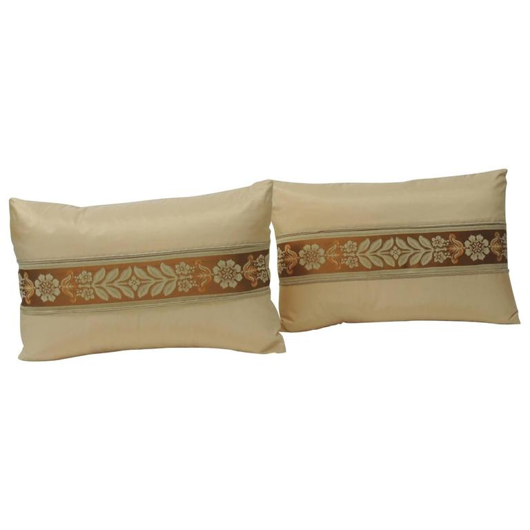 Pair of 19th Century French Peach Silk Ribbon Lumbar Decorative Pillows For Sale