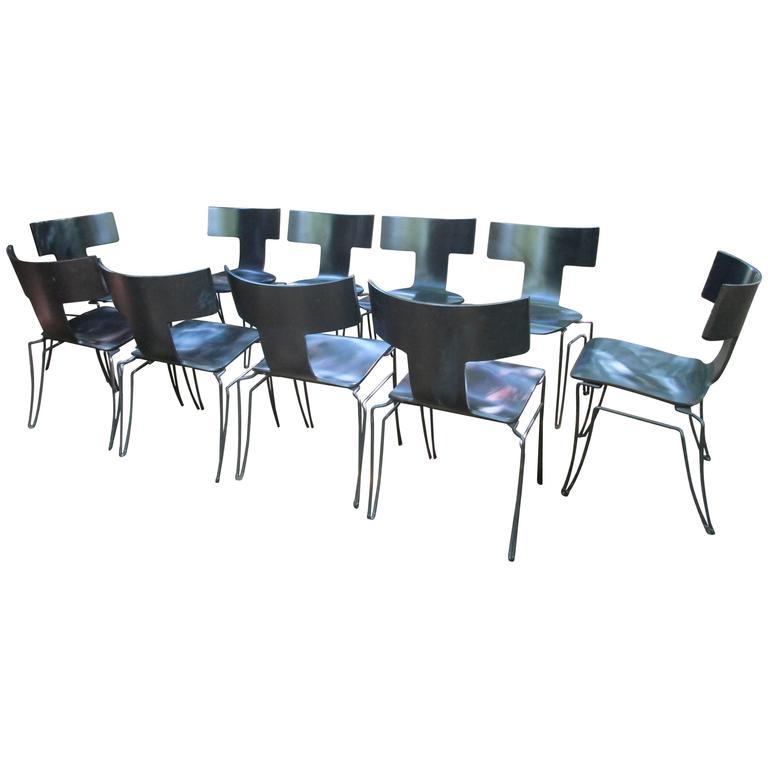 Set of Ten Ebonized Klismos Chairs by John Hutton for Donghia