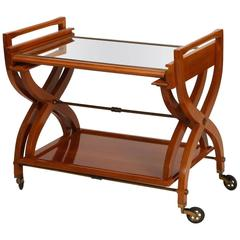 French, Mid-Century Serving Trolley with Coordinating Self Storing Table