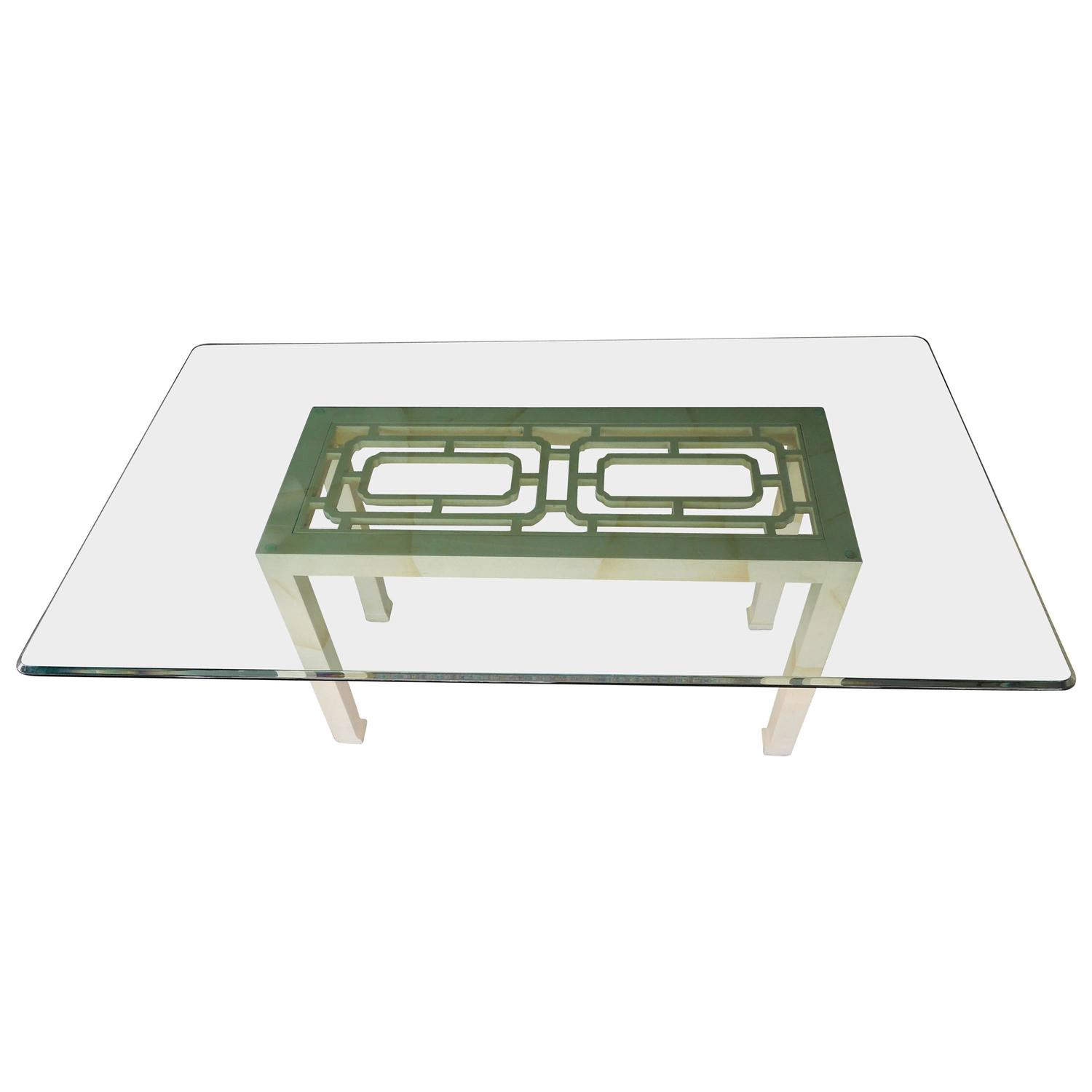 Modern Hollywood Regency Henredon Faux Goatskin Lacquer Dining Table For Sale At 1stdibs