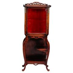 Tall Narrow Chinese Carved Wood Display Cabinet