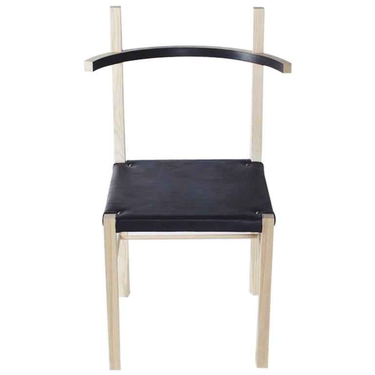 Soren Chair by Coil and Drift in Blond Ash/Ebony Leather