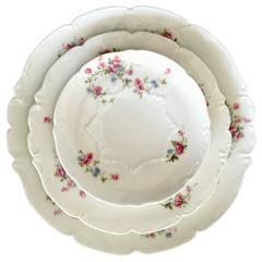 "1920'S Limoge France 42 - Piece Set Of Dinnerware ""Scattered Roses"""