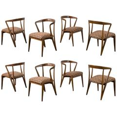 Eight Vintage Mid-Century Dining Chairs by Bertha Schaefer