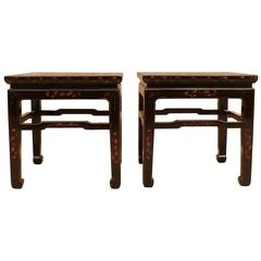 Pair of Fine Black Lacquer Square End Tables with Gold Gilt Motif