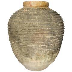 19th Century Antique Large Mediterranean Terracotta Amphora Jar, Dark Patina