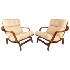 Mid-Century Modern Lounge Chairs in the Style of Bruno Mathsson