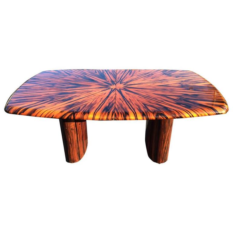 Exotic Zebrawood Dining or Conference Table by Leon Rosen for Pace