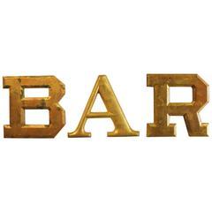 """1930s Gold Leaf Wood """"BAR"""" Sign"""