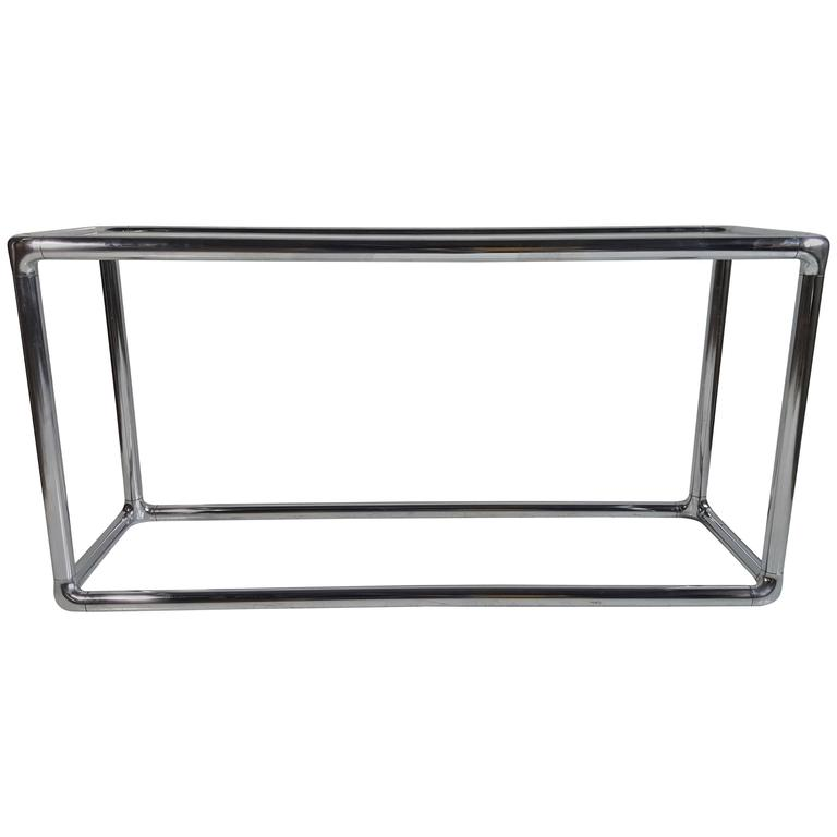 Classic 1970s Chrome and Glass Console Table, Milo Baughman