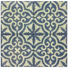 Granada Blue White Cement Tiles Haskell