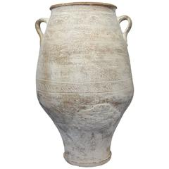 19th Century Mediterranean Terracotta Amphora Jar with White Patina and Handles