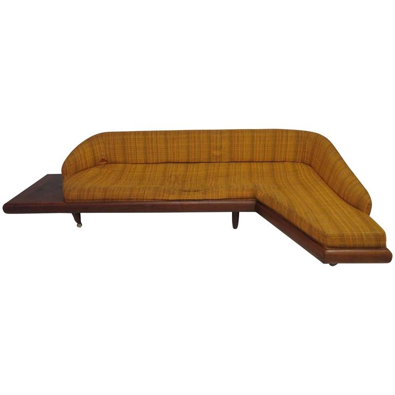 Unusual Adrian Pearsall Boomarang Sculptural Walnut Sofa For Sale