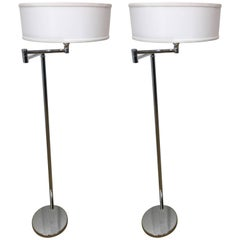 Pair of Von Nessen Articulated Chrome Floor Lamps
