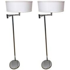 Pair of Von Nessen Articulated Chrome Floor Lamps