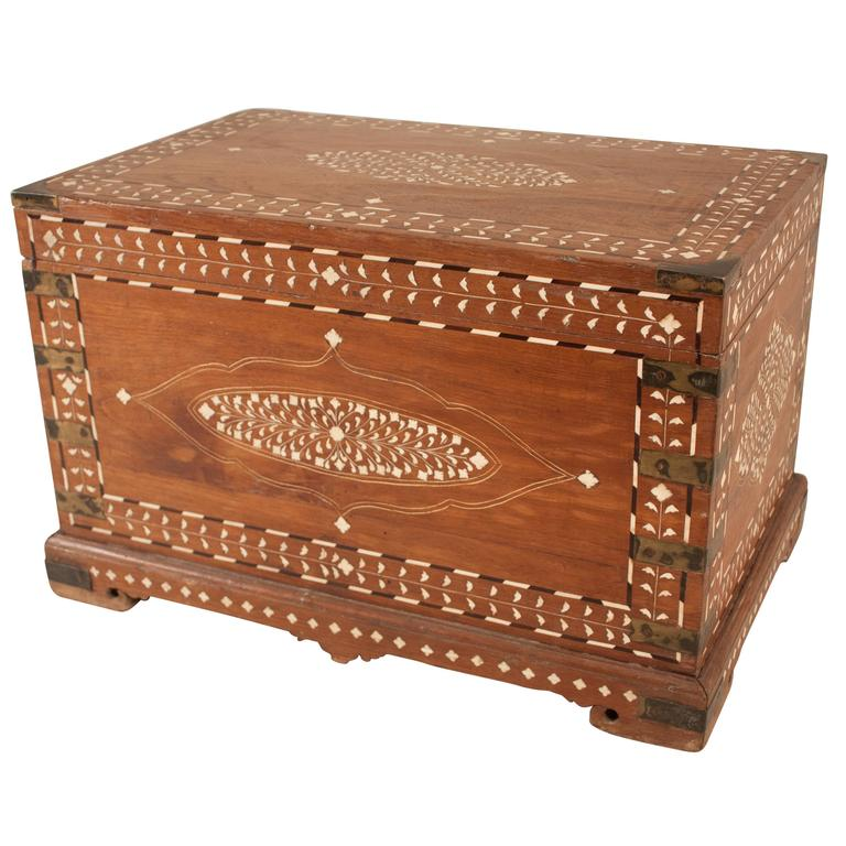 Inlaid Wooden Officer 39 S Chest At 1stdibs