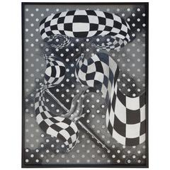 Large Black and White Abstract Painting by Euchler