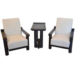 French Ebonized and Cerused Oak Chairs and Side Table:  Rene Gabriel 1940's