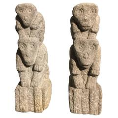 Chinese Carved Stone Monkey Totems