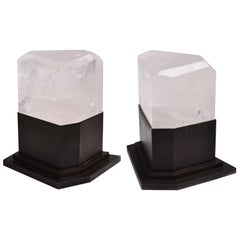 Pair of Contemporary Rock Crystal Table Lights