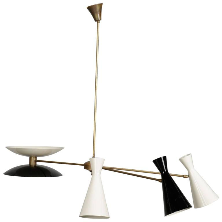 MidCentury Italian Stilnovo Style Brass And Enameled Metal Light - Italian light fixtures