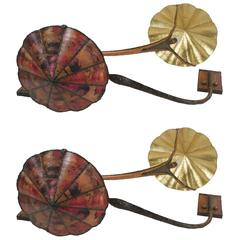 Important Pair of Sconces Artist Ghost, Contemporary, Copper and Tin