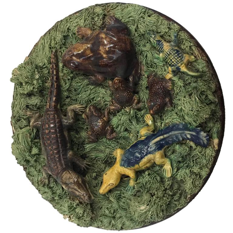 Palissy Style Majolica Plate, Portuguese, Late 19th-Early 20th Century