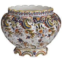 Large, Early 20th Century, French Hand-Painted Cache Pot from Normandy