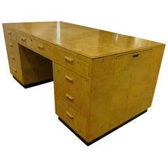 Striking Massive Executive Large Burlwood Desk by Henredon Scene Two