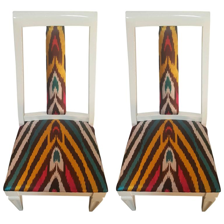 Pair of Silk Ikat Slipper Chairs in the Style of James Mont 1