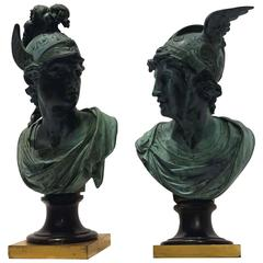 Pair of Neoclassical Bronze Busts of Mercury and Mars, 19th Century