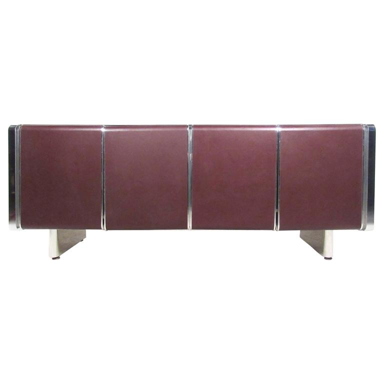 Mid-Century Modern Chrome and Leatherette Front Italian Sideboard