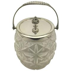William Hutton & Sons Cut Glass and Silver Plate Biscuit Jar