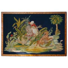 Pair of Gros-Point Stitched Panels Representing Orientalist Scenes
