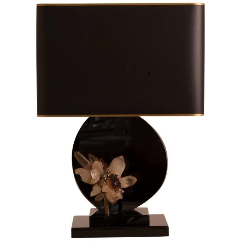 Mid-Century French Lacquer Table Lamp with Geode Detail