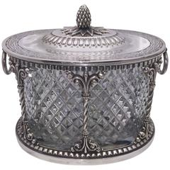 American Silver-Plated Cut Glass Biscuit Jar