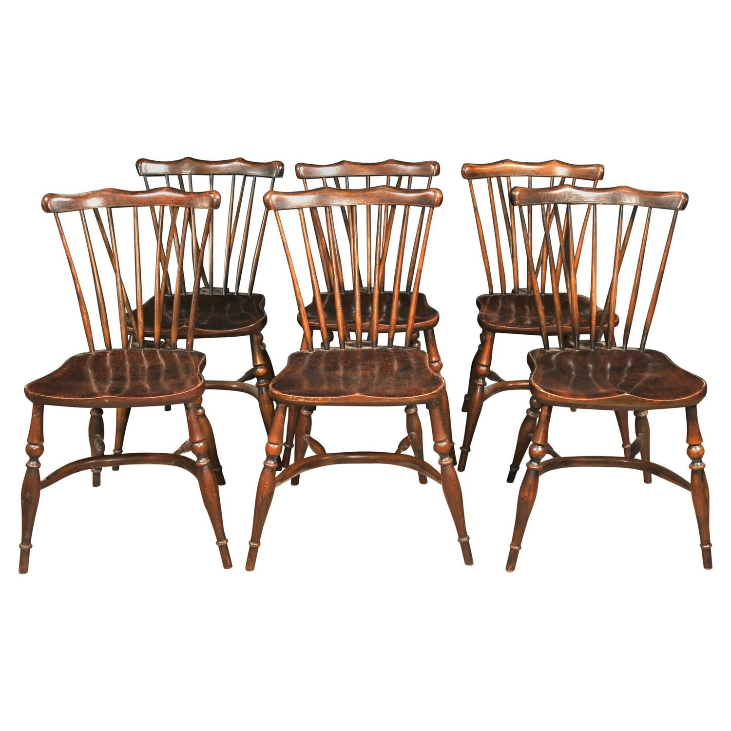 Kitchen Chairs For Sale: Set Of Eight Antique Oak Windsor Chairs 1920 Kitchen