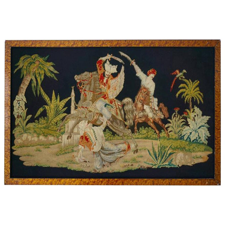 Pair of Gros – Point Stitched Panels Representing Orientalist Scenes For Sale