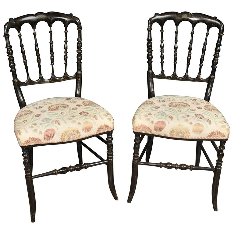 Pair Antique Chinese Black Lacquer Dining Chairs Spindle Back At 1stdibs