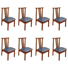 Set of Eight Mid Century Modern Teak Dining Chairs, 1960's, Priced to Sell!