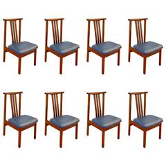Set of Eight Mid Century Modern Teak Dining Chairs, 1960's