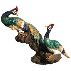 Large Majolica Peacock Sculpture Centerpiece