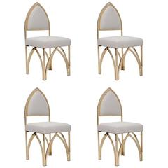 Two Pairs of Gothic Inspired Polished Brass Chairs, Italy Circa 1970