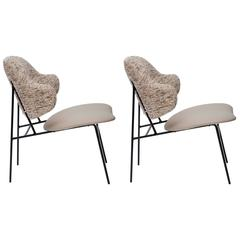 Pair of Ib Kofod-Larsen Leather and Silk Shell Lounge Chairs