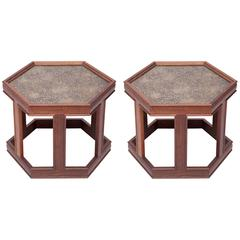 Pair of Hexagonal Occasional Tables by John Keal for Brown Saltman