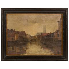 Depiction of City Life Oil on Canvas Painting from Belgium Circa 1890
