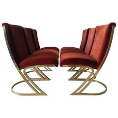 Set of Six Pierre Cardin Brass Dining Chairs in Oxblood Velvet