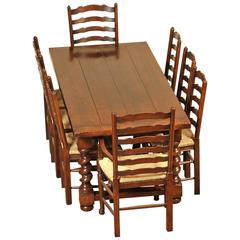 English Oak Barley Twist Refectory Table and Set of Ladderback Chairs